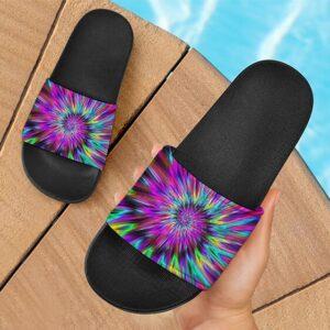 Bright Colors Circle Tie Dye 420 Marijuana Cool Slide Sandals
