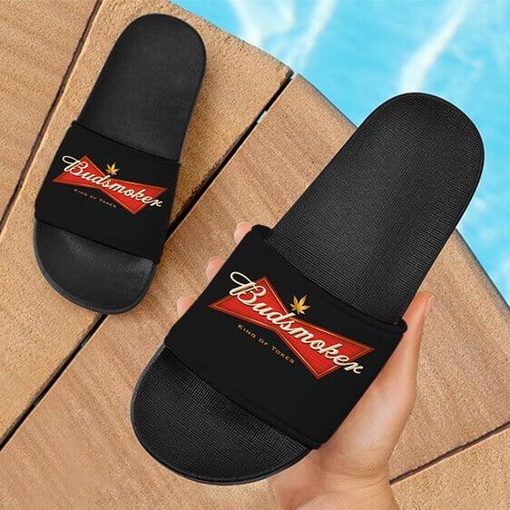 Budweiser Budsmoker Logo King Of Tokes Marijuana Slide Slippers