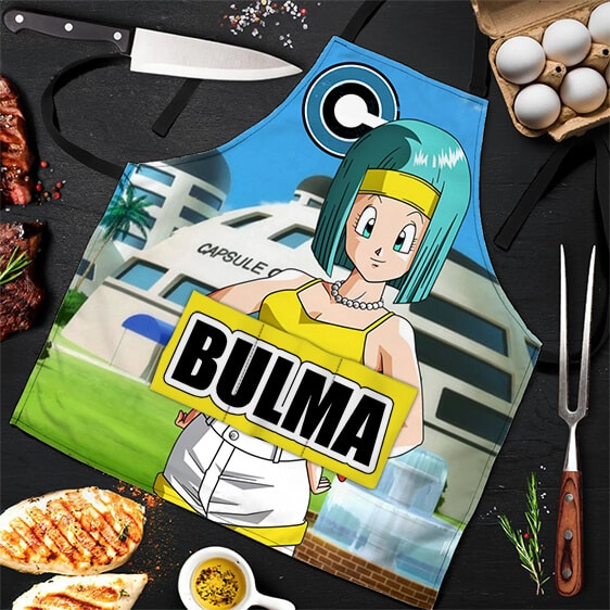 Bulma Capsule Corporation Background DBZ Awesome Cool Apron