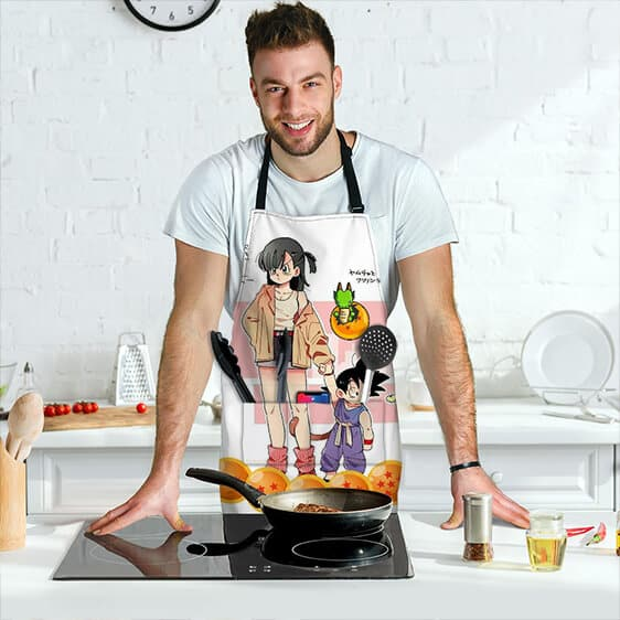 Bulma and Kid Goku with Baby Shenron DBZ Cool and Cute Apron