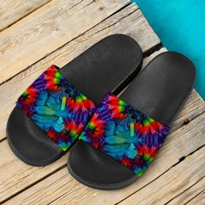Stoner Cop Smoking Bong Trippy Tie Dye 420 Weed Slide Sandals