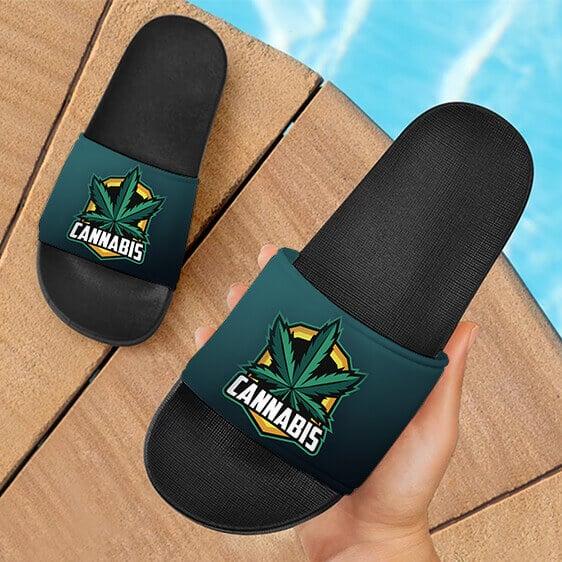 Cannabis Awesome Logo Marijuana Weed Dark Slides Sandals