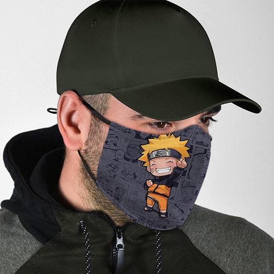 Cheerful Chibi Naruto Manga Background Cloth Face Mask