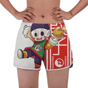 Chiaotzu Eating Dumplings Kanji Symbol DBZ Beach Shorts