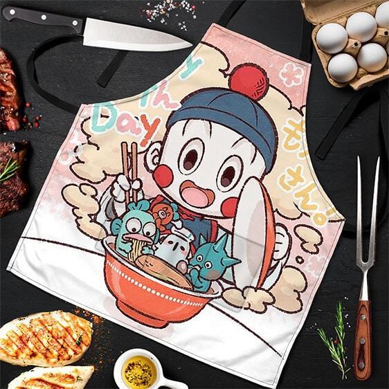 Chiaotzu Eating Ramen Dragon Ball Z Cute Cool Awesome Apron
