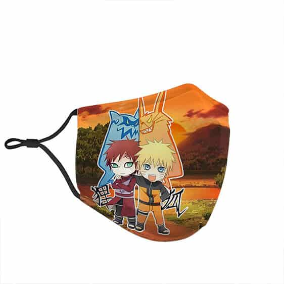 Chibi Naruto And Gaara Friendship with Tailed Beasts Face Mask