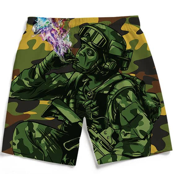 Badass Chilling Soldier Smoking Marijuana Men's Boardshorts
