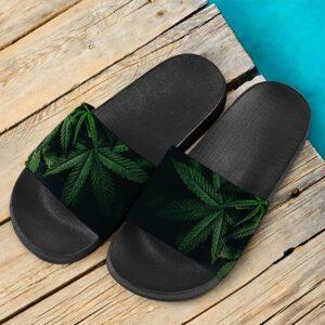 Fade to Black Marijuana Leaves Dope 420 Weed Slide Slippers