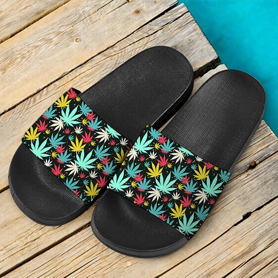 Colorful Weed Pattern Art Splash 420 Marijuana Slide Slippers