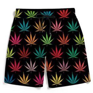 Colorful Rainbow Marijuana Pattern 420 Men's Boardshorts