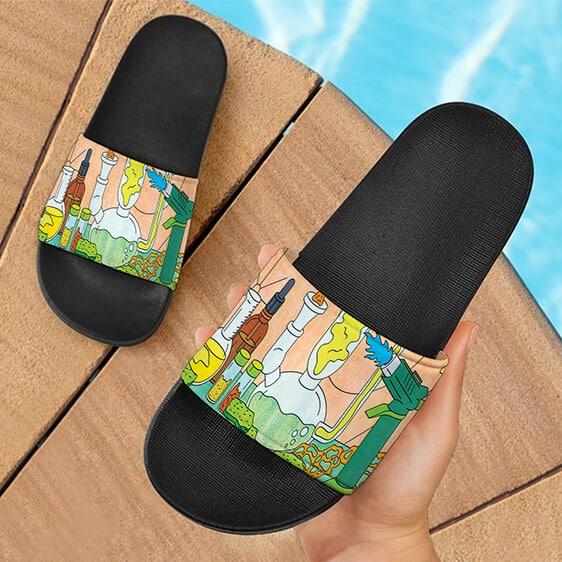 Cute Cartoon Dab Weed Chemistry Lab Marijuana Slide Footwear