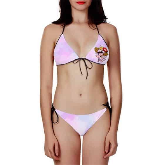 DBZ Android 21 Chibi Summer Watercolor Pink Two Piece Bikini