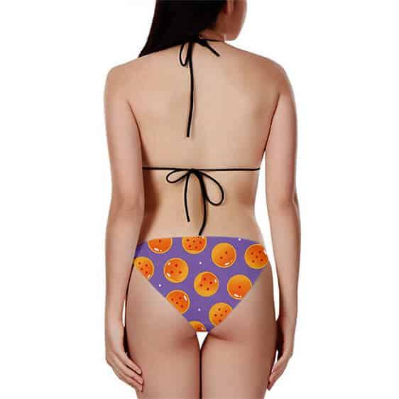 DBZ Dragon Balls Pattern Design Purple Two Piece Bikini