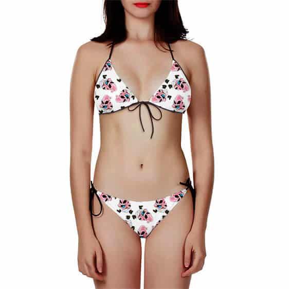 DBZ Kid Buu Chibi Middle Finger White Pink Two Piece Bikini