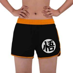 DBZ Son Goku And King Kai Kanji Symbol Black Beach Shorts