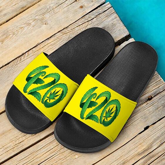 Dope Marijuana Leaf Minimalist Art Bright Yellow Slide Sandals