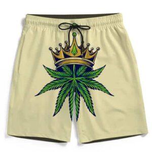 Dope Art Crowned King Kush 420 Marijuana Awesome Boardshorts