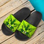 Dope Art Zombie Hands Hazard Marijuana Green Slides Sandals