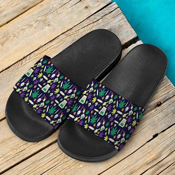 Dope Weed Bong Joint Pattern Design Marijuana Slide Sandals