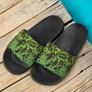 Dope Weed Green Cartoon Doodle Art 420 Marijuana Slide Sandals