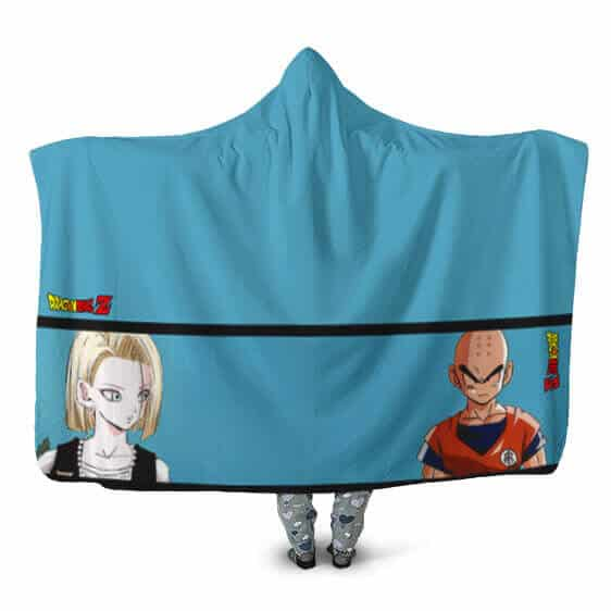 Dragon Ball Android 18 Krillin First Love Fight Hooded Blanket