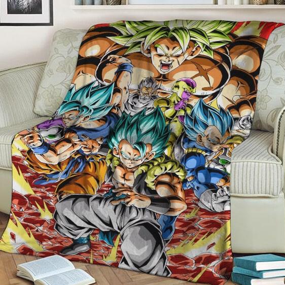 Dragon Ball Broly Vegeta Goku Gogeta Frieza Awesome Collage Blanket