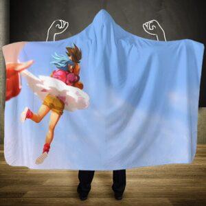 Dragon Ball Bulma Hanging And Goku On Kintoun Hooded Blanket