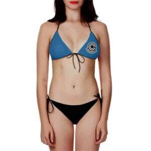 Dragon Ball Capsule Corp Sexy Blue Black Two Piece Bikini