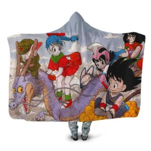 Dragon Ball Classic Goku Chi-Chi With Friends Hooded Blanket