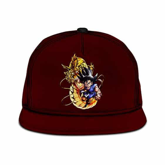 Dragon Ball Kid Goku Dragon Punch Dark Maroon Cool Snapback Cap