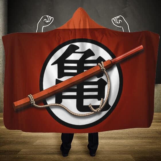 Dragon Ball Master Roshi Kanji With Power Pole Hooded Blanket