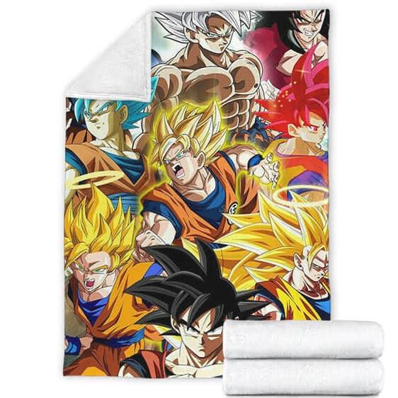 Dragon Ball Son Goku All Forms Fantastic Fleece Blanket