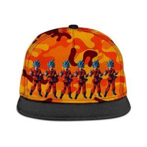 Dragon Ball Son Goku Super Saiyan Blue Orange Camouflage Snapback Hat