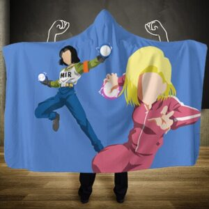 Dragon Ball Super Android 17 And 18 Vector Art Hooded Blanket