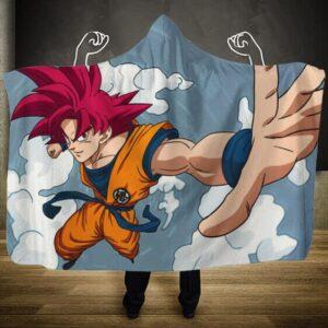 Dragon Ball Super Saiyan God Red Goku At Sky Hooded Blanket