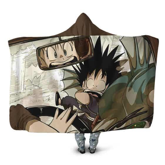 Dragon Ball The First Encounter Goku Bulma Hooded Blanket