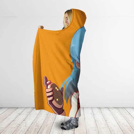 Dragon Ball Young Bulma Carrying Dragon Radar Hooded Blanket