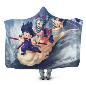 Dragon Ball Young Goku Bulma Oolong On Kintoun Hooded Blanket