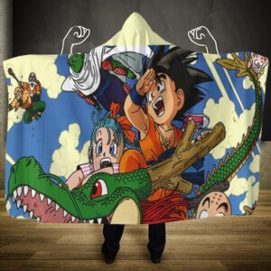 Dragon Ball Young Goku Ride Dragon With Friends Hooded Blanket