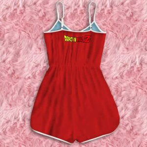 Dragon Ball Z Android 17 18 Back To Back With Gun Red Romper