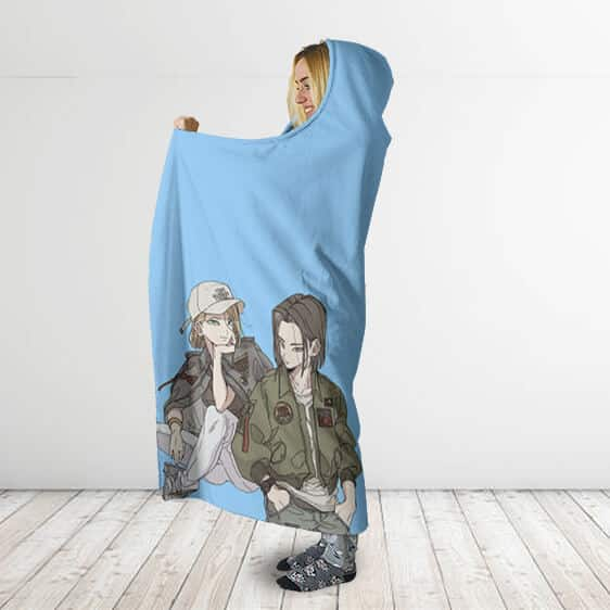 Dragon Ball Z Android 17 & 18 Casual Get Up Hooded Blanket