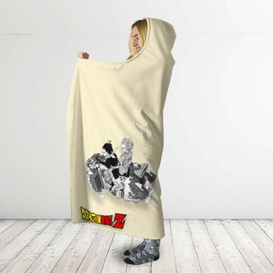 Dragon Ball Z Android 17 & 18 Colored And BW Hooded Blanket