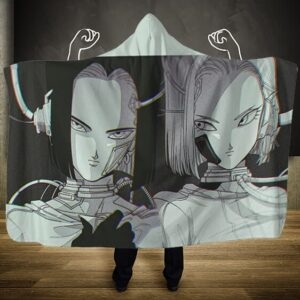 Dragon Ball Z Android 17 And 18 Patched Up Hooded Blanket