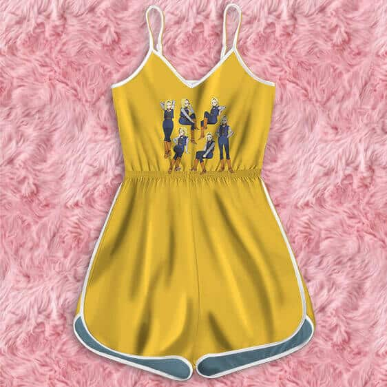 Dragon Ball Z Android 18 Multiple Poses Cute Yellow Romper