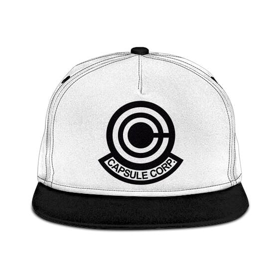 Dragon Ball Z Capsule Corp Logo White Black Snapback