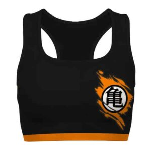 Dragon Ball Z Goku Kanji Black Orange Powerful Sports Bra