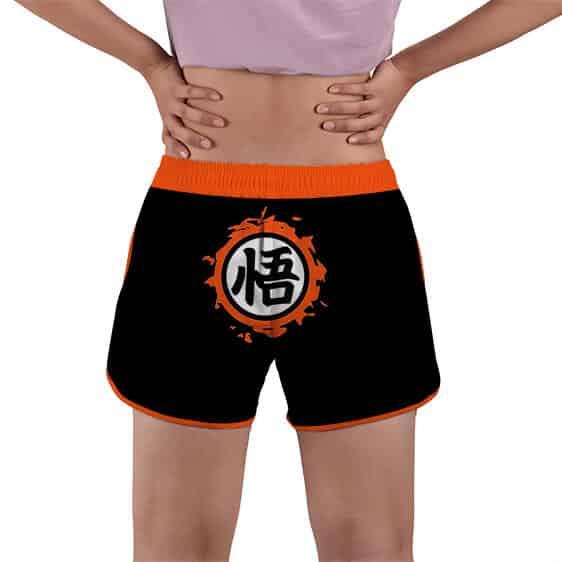 Dragon Ball Z Goku Kanji Symbol Black Women's Beach Shorts