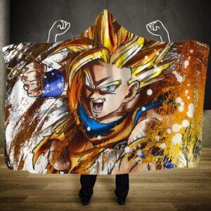 Dragon Ball Z Goku Super Saiyan 2 Charge Attack Hooded Blanket