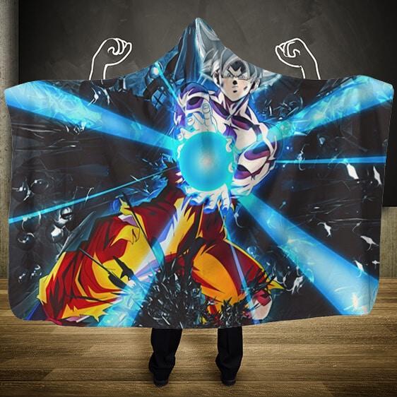 Dragon Ball Z Goku Ultra Instinct Kamehameha Hooded Blanket
