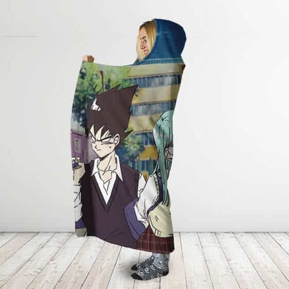 Dragon Ball Z Goku Vegeta What If Highschoolers Hooded Blanket